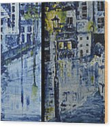 Winter Night In The City Wood Print