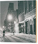 Winter Night - New York City - Lower East Side Wood Print