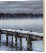 Winter On A Texas Lake Wood Print