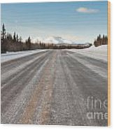 Winter On Country Road In Taiga And Snowy Mountain Wood Print