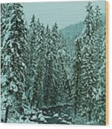 Winter On The American River Wood Print