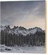 Winter On The Carezza Lake Wood Print
