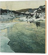 Winter On The Mesna River Near Lillehammer Wood Print by Fritz Thaulow