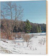 Winter On The Moose River - Old Forge New York Wood Print