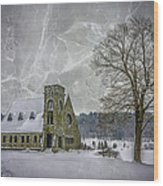 Winter on the Old Stone Church Wood Print