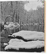 Winter On The Wissahickon Creek Wood Print