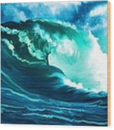 Winter Pacific Surf Wood Print