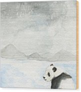Winter Panda Wood Print by Erica Vojnich