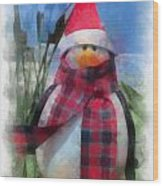 Winter Penguin Photo Art Wood Print