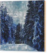 Winter Piny Forest Wood Print