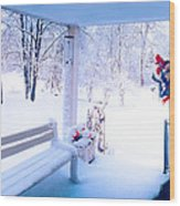 Winter Porch Wood Print