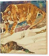 Cougar On The Prowl In Winerer Wood Print