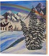 Winter Rainbow Wood Print