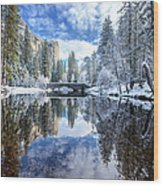 Winter Reflection At Yosemite Wood Print