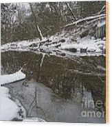Winter Reflections On Ice And Water Wood Print