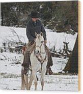 Winter Riding Wood Print
