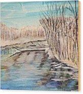 Winter River Scene Wood Print