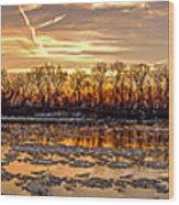 Winter River Sunrise Wood Print