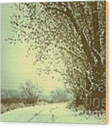 Winter Road Abstract  Wood Print