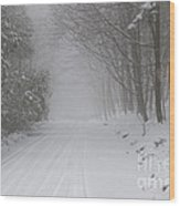 Winter Road During Snow Storm Wood Print