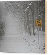 Winter Road During Snowfall I Wood Print