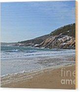 Winter Sand Beach Acadia Wood Print