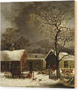 Winter Scene In New Haven Connecticut 1858 By Durrie Wood Print by Movie Poster Prints