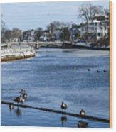 Winter Scene Jersey Shore Town Wood Print