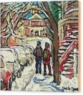 Winter Scene Painting Rows Of Snow Covered Cars First School Day After Christmas Break Montreal Art Wood Print