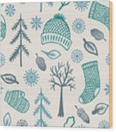 Winter Seamless Pattern With Knitted Wood Print