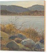 Winter Shoreline Rockland Lake Wood Print