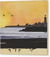 Winter Silhouette Santa Cruz Wood Print by Kerry Van Stockum