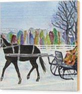 Winter Sleigh Ride Wood Print