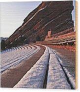 Winter Snow At Red Rocks Amphitheater Wood Print
