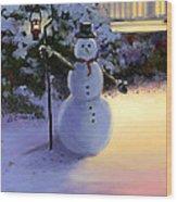 Winter Snow Man Wood Print by Cecilia Brendel