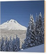 Winter Snow Over The Cascade Range Wood Print