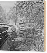 Winter Snow Storm In Somesville Maine Wood Print