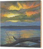 Winter Solstice At The Confluence Of The Mississippi And The Missouri Rivers Wood Print