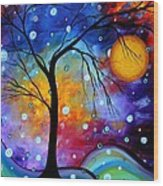 Winter Sparkle Original Madart Painting Wood Print by Megan Duncanson