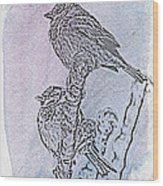 Winter Sparrows 2 Wood Print