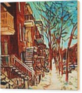 Winter Staircase Wood Print