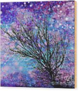 Winter Starry Night Square Wood Print