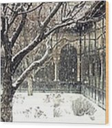Winter Storm At The Cloisters 3 Wood Print