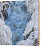 Winter Sunrise Great Falls Wood Print