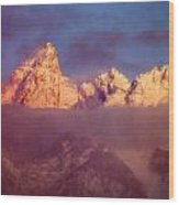 1m9333-winter Sunrise On Teton Range Wood Print