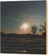 Winter Sunrise On The Farm 02 Wood Print