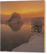 Winter Sunset And Fog Over Lake Myvatn Wood Print