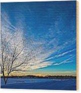 Winter Sunset At Diamond Lake Wood Print