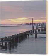 Winter Sunset Freeport Wood Print