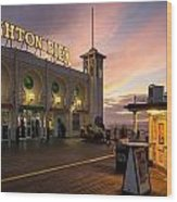 Winter Sunset Over Brighton Pier In England Wood Print